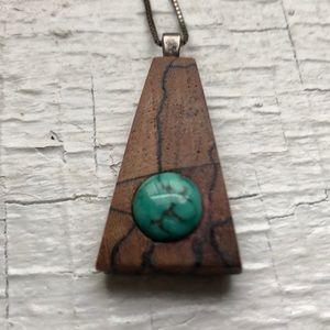 Necklace with wood and turqouise pendant